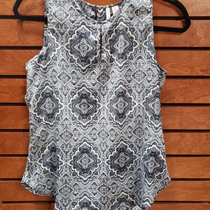 Cato extra small light blue patterned tank blouse